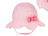外贸原单泡泡纱粉色条纹防晒帽 夏季儿童帽子 大沿儿童太阳帽