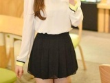 雪纺百褶裙裤短裤/夏女韩版黑色热裤/甜美