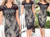 2015新款欧美女装性感V领蕾丝连衣裙 铅笔裙秋季连衣裙