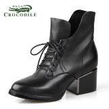 鳄鱼皮匠品牌2014欧美新款女单鞋加绒系带高跟鞋真皮鞋子女鞋批发