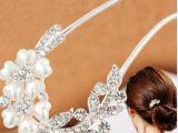 淘宝爆款 韩国发梳 花瓣水钻插梳 珍珠叉针 新娘手工饰品热卖