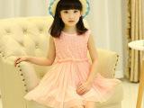 童装 2015年夏款童装 纯色韩版女童背心裙 玫瑰花朵儿童公主裙