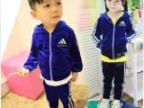 秋款童装 韩版男童个性套装儿童卫衣天鹅絨长袖两件套装厂家批发
