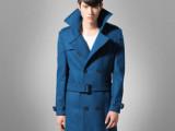 2014秋冬新款 时尚蓝色羊毛呢大衣男士修身呢子大衣男装 厂家直