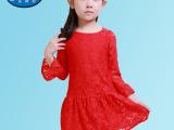 【吉诗尼】2015新款夏款女童印花欧美风长款七分袖连衣裙童裙批发