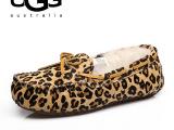 2014冬季新款澳洲Ugg雪地靴时尚豹纹真皮豆豆鞋女棉鞋一件代发