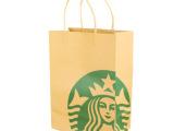 星巴克环保牛皮纸礼品袋 纸袋 环保袋 购物袋