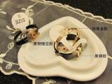 厂家直销欧美时尚潮流大牌黑钛钢戒指黑钢玫瑰金保色款戒指女最爱