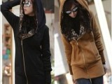 2014春秋冬装新款女装 欧美爆款豹纹长袖连帽厚卫衣外套大码开衫