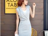 韩国同款休闲V领修身包臀连帽纯棉连衣裙包臀裙两件套