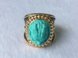 绿松石镶嵌,绿松石复古戒指