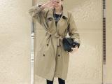 2014秋季新款韩版棉质大码翻领女装初秋中长款纯色风衣女