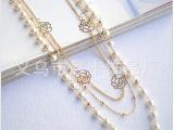 韩国 多层珍珠毛衣链镂空玫瑰花片长款百搭项链女