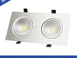厂家直销  LED射灯 车铝长方形筒灯LED格栅射灯 双头LED