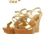 2014新款优雅高贵金色露趾高跟真皮女鞋厂家批发坡跟羊皮女凉鞋