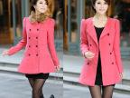 2014秋冬韩版女装双排扣可爱风衣大衣修身毛呢仿兔毛领呢外套F637