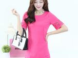 2014夏季热卖新款韩版女装A字裙 修身显瘦烧花短袖连衣裙 88
