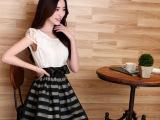 2014夏装新款欧根纱小香风收腰公主裙名媛蓬蓬裙条纹连衣裙A47