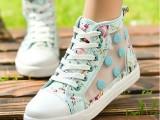 厂家直销2015新款甜美镂空帆布鞋学生韩版鞋透气网鞋平底女休闲鞋