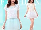 韩国代购夏装新款蕾丝拼接 韩国修身格装欧根纱 两件套连衣裙