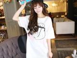 2014韩国夏季女装 哈皮狗中长款宽松口袋连衣裙T 韩国T连衣裙