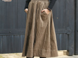 【?Z人裳】原创文艺女装 秋冬灯芯绒半身裙子 轻复古凤半身裙