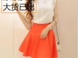 厂家直销 夏季气质女装韩版无袖蕾丝衫撞色半身裙休闲两件套装 潮