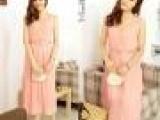 2013新款雪纺中长裙夏装韩版无袖裙OL收腰百褶淑女显瘦连衣裙