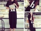 2014夏季新款韩版女装 大码字母短袖 长款连衣裙 现货批发