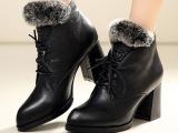 温州女鞋厂家直销冬季真皮女靴 兔毛粗跟女短靴 秋冬新款女靴批发