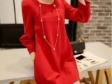 现货早春女装新款短裙韩版圆领立体拼接红色宽松连衣裙子