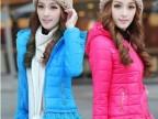 2014冬季女装精品短款棉衣 蕾丝花边修身带帽棉衣棉袄