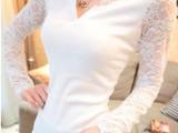 韩版秋季修身显瘦长袖t恤打底衫 性感V领蕾丝长袖t恤女