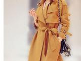 2014秋季新款韩版中长款修身风衣外套翻领系带纯色薄款风衣爆款