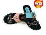 爆款 2014年夏季 坡跟女式拖鞋 休闲新款高档女鞋 批发 厂家