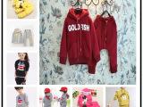 厂家直销外贸库存童装 儿童套装 冬季加厚加绒卫衣