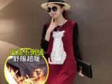 韩版孕妇装秋冬装 孕妇长袖中长款不倒绒加绒卫衣孕妇上衣打底衫