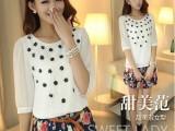 2014新款韩国品牌雪纺衫 圆领中袖立体小花朵上衣大码小衬衫女装