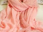 2014新款 秋冬棉麻围巾纯色蕾丝花边拼接丝巾围巾披肩超长C201