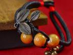 供应 新品青花瓷 复古民族风手链 女瑞丽三叶青铜 编织手镯