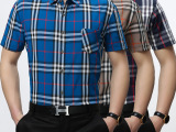 寒霸男装2015夏季新款男士翻领休闲短袖韩版修身时尚格子衬衫口袋