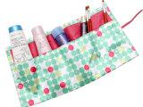 日本杂志款 糖果色清新波点旅行便携化妆包 收纳包 B2587