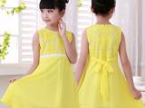 2015韩版新款向日葵女童雪纺连衣裙 夏装欧根纱公主裙一件代发