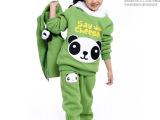 童装批发厂家直批冬装2014新款儿童卡通熊猫加绒加厚大卫衣三件套