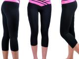 ebay速卖通外贸女式健身运动七分牛奶丝弹力瘦身提臀打底裤ALD