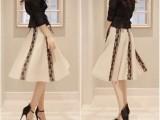 新款韩版女装时尚修身三件套雪纺蕾丝吊带打底裙连衣裙