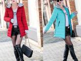 女士中长款棉衣女2015新款大码手套修身连帽女装韩版羽绒棉服外套