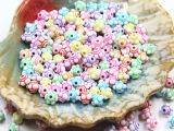 儿童diy手工串珠材料花面椭圆水洗珠实色