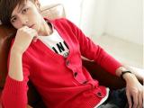 大货爆款开衫 韩版针织开衫 纯棉V领毛衣 男外套毛衣 红色毛衣