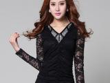 2014春装新款韩版时尚V领宽松蕾丝衫女长袖蕾丝上衣小衫